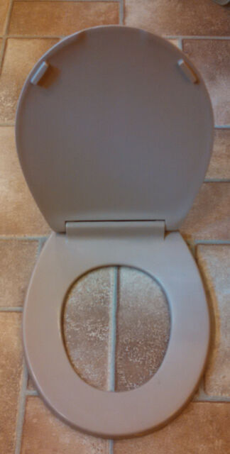 Durable Elongated Closed Front Toilet Seat in Mexican Sand Slow Close Bathroom