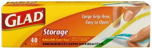 Glad Food Storage Zipper Bags Gallon 40 Count Box