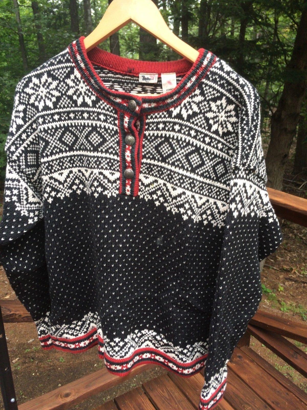 L.L. Bean Womens L Cotton 1 2 Button Snowflake Nordic Cardigan Sweater Latvia