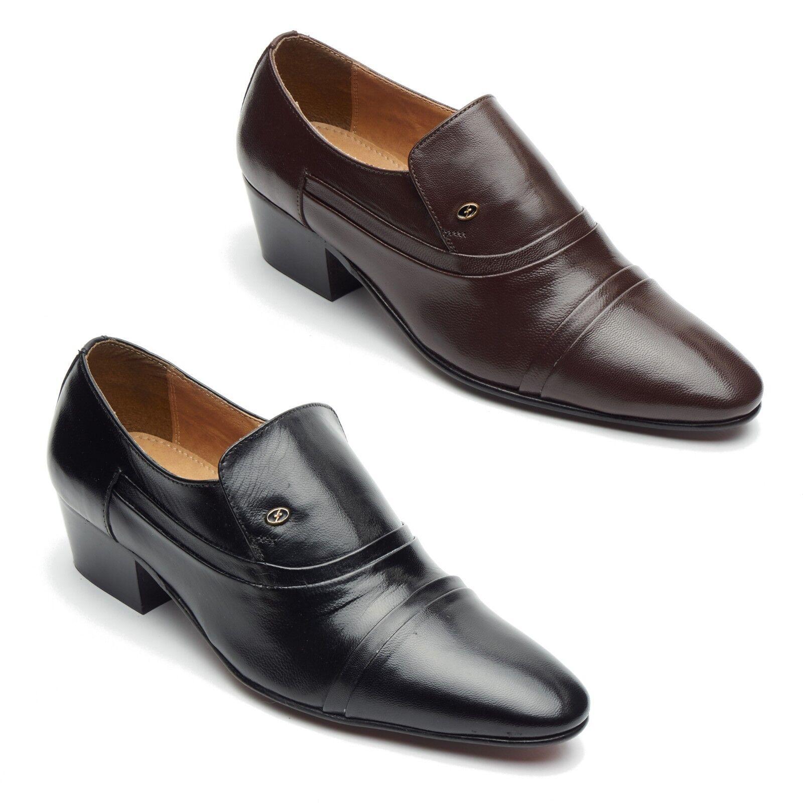 Mens Formal Leather Cuban Heel Pointed Formal Mens Wedding Slip On Shoes 0b382b