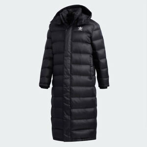 31c068f219893 New Adidas Mens AC LONG DUCK DOWN JACKET BLACK DN8050 PARKA PUFFER S ...