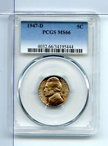 1947-D PCGS Certified MS66 Jefferson Nickel 5C Coin Uncirculated MC0203