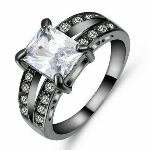 Women Fashion 925 Silver Filled Sapphire Engagement Ring Proposal Jewelry Sz 6-9