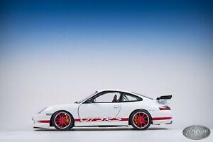 1 18 Autoart Porsche 911 996 Gt3 Rs White And Red Dealer Edition Ebay