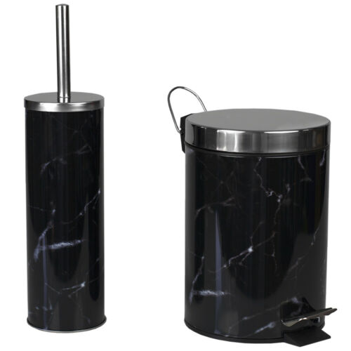 Black Faux Marble Toilet Brush /& Holder Bathroom Accessory Compact Freestanding