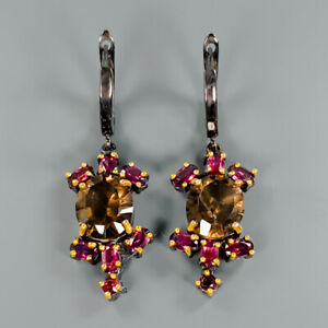 Handmade-SET-Natural-Smoky-Quartz-925-Sterling-Silver-Earrings-E29751