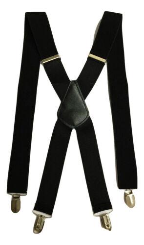 Standard Mens Ladies BRACES BLACK SUSPENDER ELASTIC 3.5cm WIDE Durable Trouser