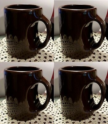 4 Brown Pottery Mugs Mirror Brown Glaze Sleek Handles Vintage Yellowware Cups