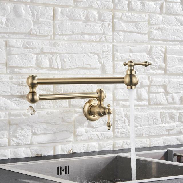 Pot Filler Brushed Gold Kitchen Faucet Folding Swing Arm Wall Mount Folding  Tap