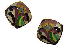 Lanvin Floral Abstract Enamel Earrings