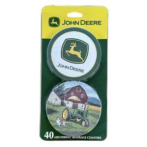 Brand New John Deere 40 Absorbent Beverage Coasters / JD Silo Dispenser Refills.