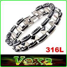 316L Stainless Steel & Silicone Mens Bracelet Motorbike Chain 15 Wristband BR40