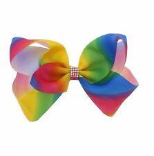 Rainbow Diamond Ladies Girls Assorted Hair Bows Clip Ribbon Party Fancy Dress B4