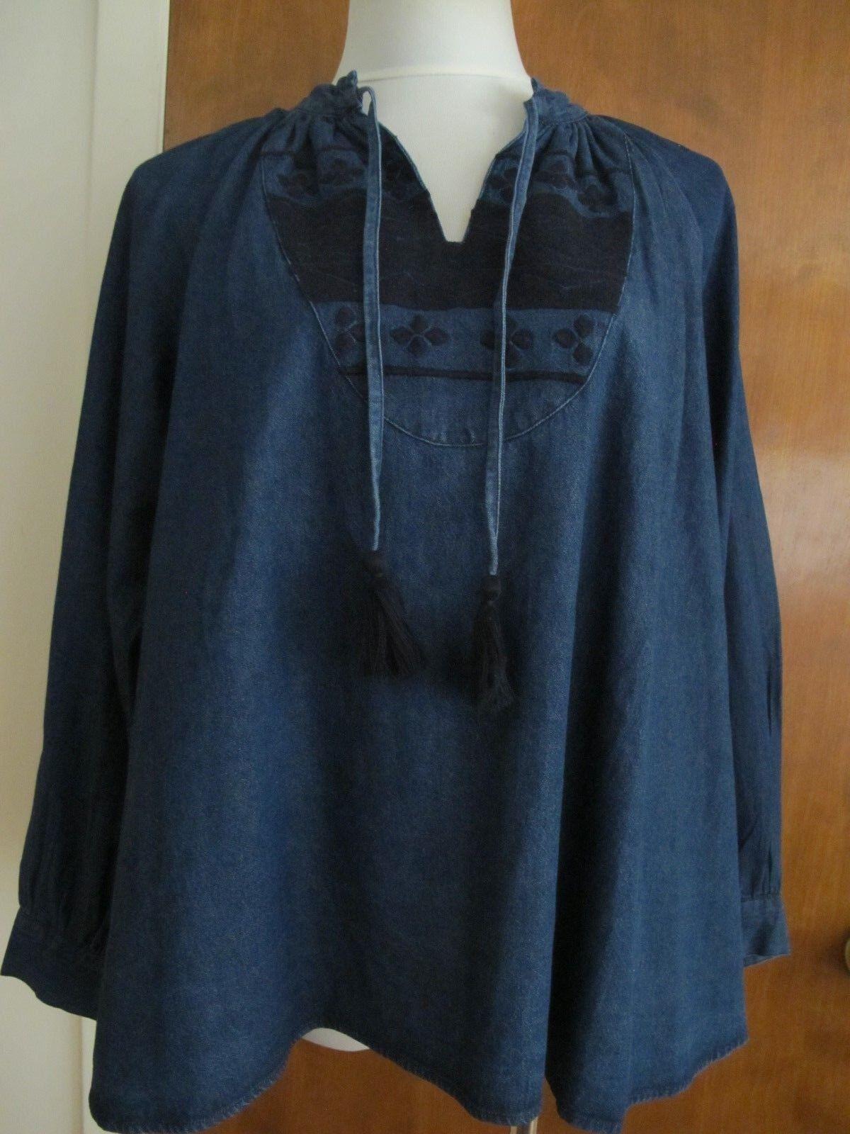 Anthropologie damen denim Blau detailed embroiderot A-line tunic top M L NWT