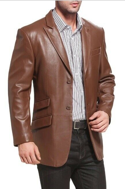 Mens Brown Genuine Leather Blazer Coat Jacket TWO BUTTO