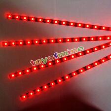 4 pcs 15 Bar LED 30cm Car Auto Flexible Grill Light Lamp Strip Waterproof RED