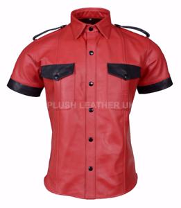 Mens VERY Hot Genuine Sheep PREMIUM LEATHER RED Police Uniform Shirt blueF GAY