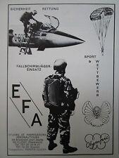 1971-73 PUB EFA SAFETY EQUIPMENT SAUT PARACHUTE PAPILLON OLYMPIC F-104 GERMAN AD
