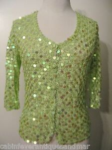 Crocheting Cruise : ... Formal Party Bridal Cruise Green Crochet Sequin Cardigan Sweater Top M
