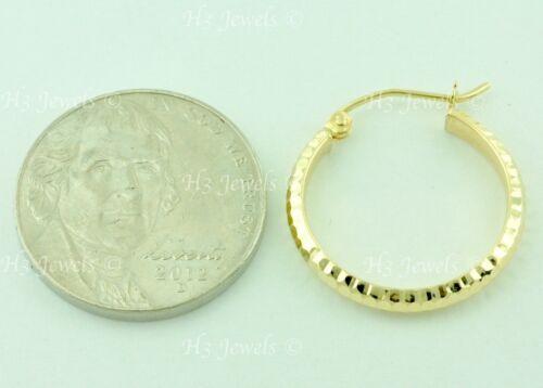14k Solid Yellow Gold Diamond Cut hoop earring 1.30 gram 3//4 inch #6454 h3jewels