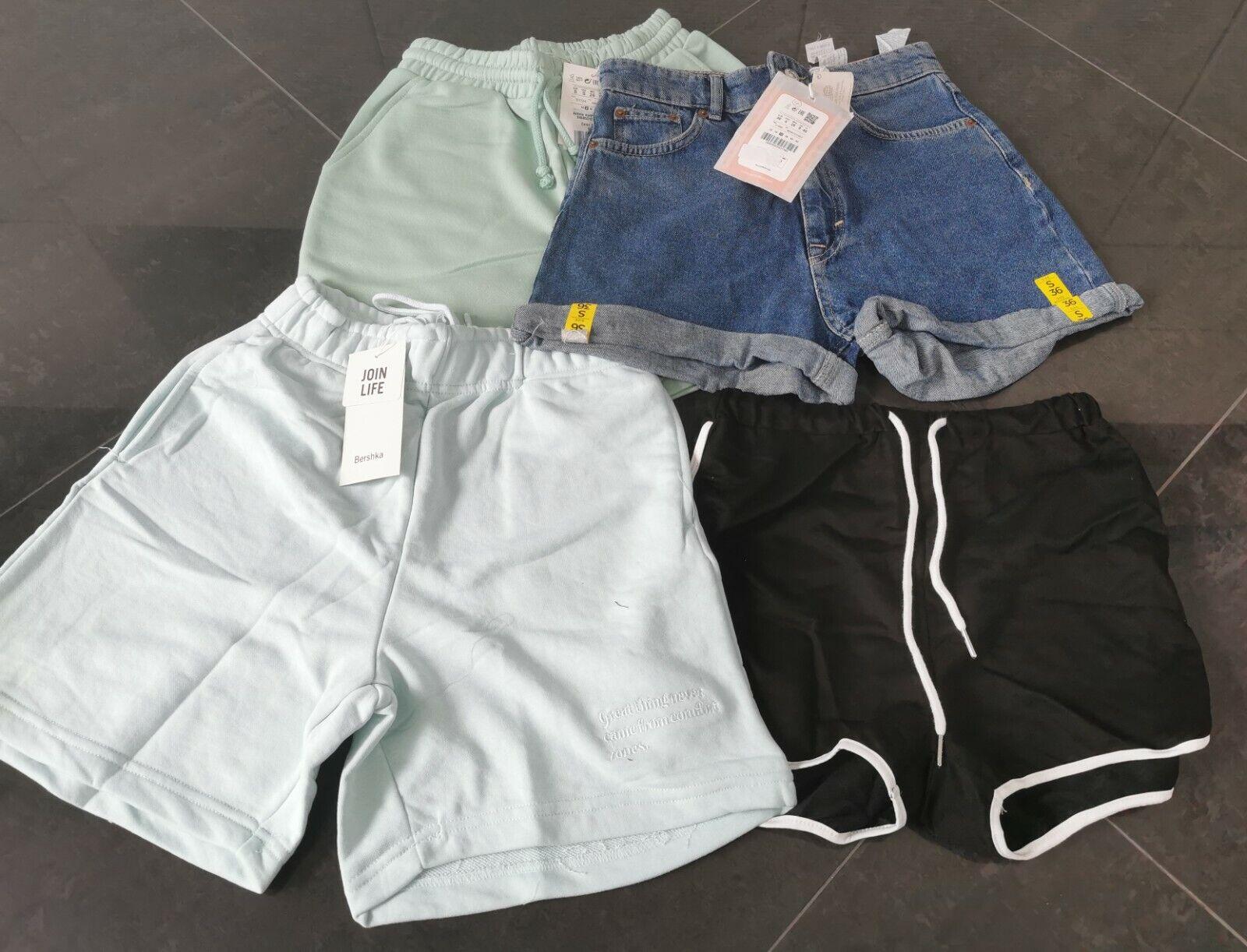 4-teilig Pull&Bear Bershka Shein Damen Short Kurze Hose Jeans blau schwarz Gr.36