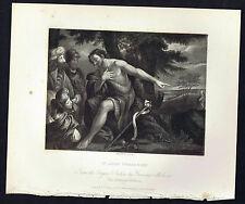 Saint John the Baptist Preaching (Mola) -National Gallery 1836 Print