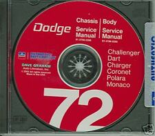 1972 Dodge Challenger Charger Shopbody Manual On Cd