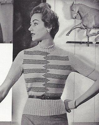 Vintage Knitting PATTERN to make Intarsia Graphic Stripe Knit Blouse Sweater Top