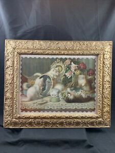 Antique Ornate Wood Gesso The Five Senses Kittens Print by H G Plumb c 1907