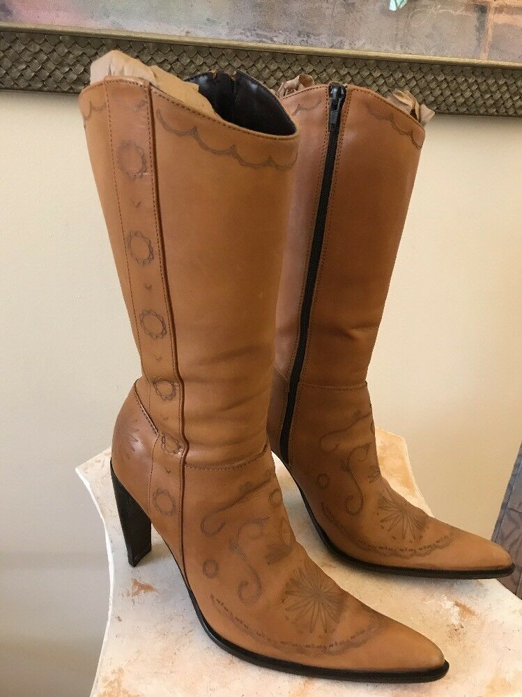 Steven by Steve Madden Womens Italian leather Mid Calf Etched boots, US 6