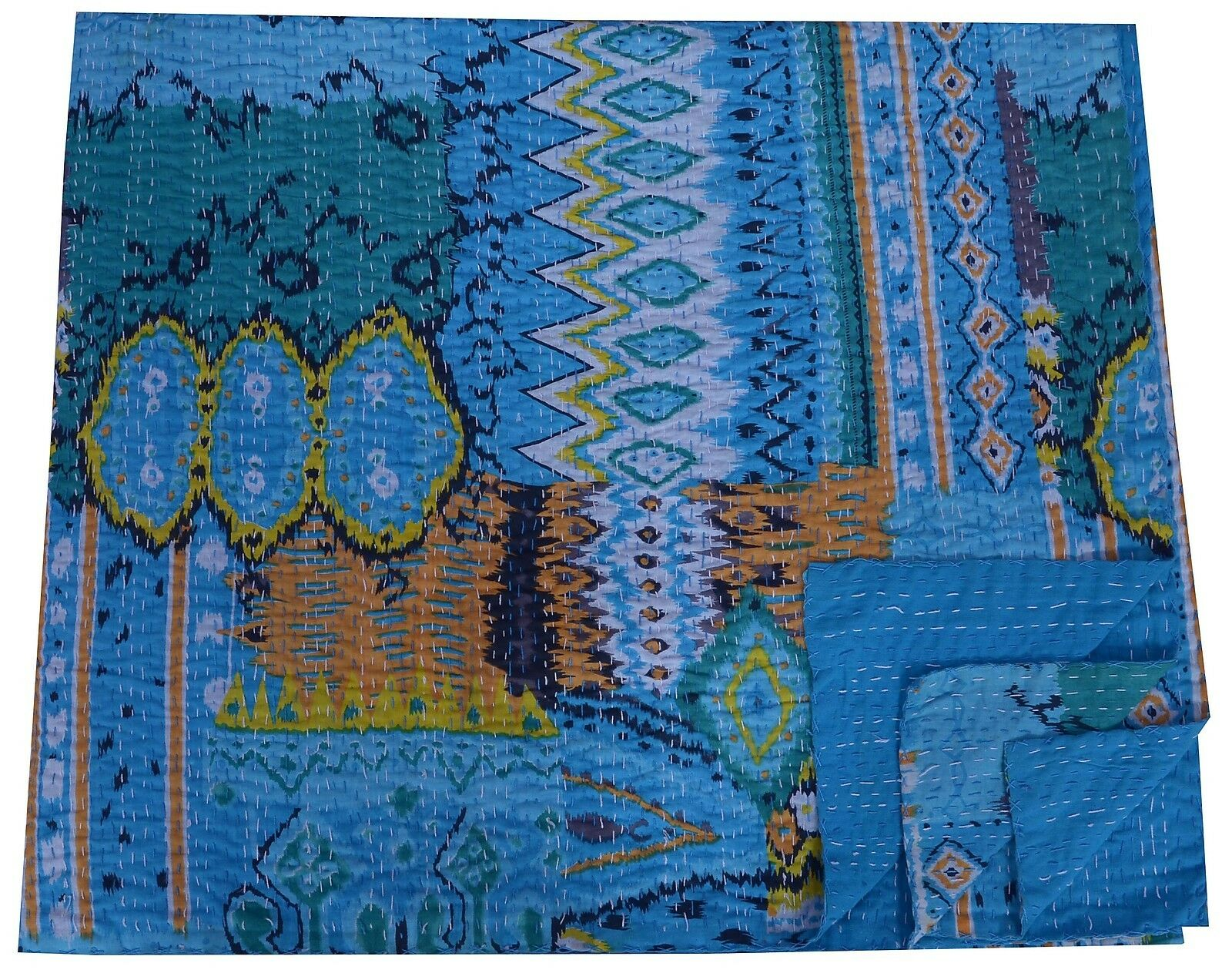 INDIAN QUEEN KANTHA QUILT IKAT DESIGN TURQUOISE BEDSPREAD THROW BEDDING BLANKET