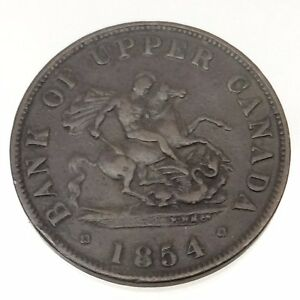 1854-Bank-of-Upper-Canada-One-1-Half-1-2-Penny-Token-Copper-Canadian-Coin-B526
