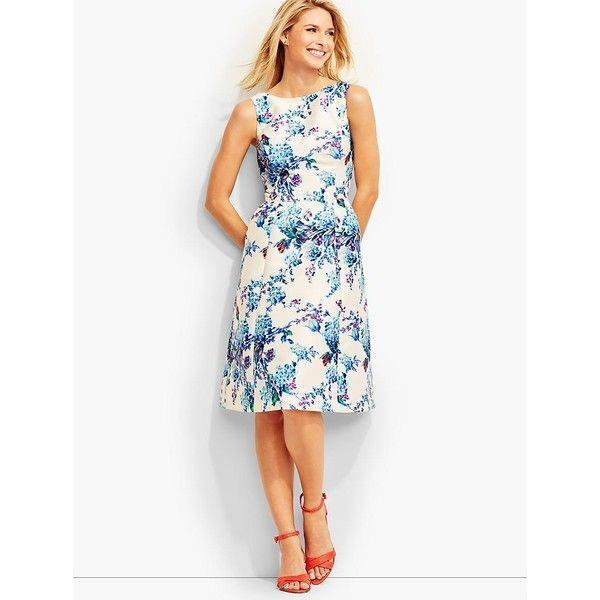 TALBOTS Ivory Blau Mixed Flowers Fit N Flare Dress 12 NWT Womans (MSRP )