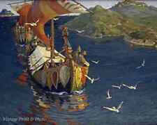 Guests from Overseas by N Roerich Vikings Sea Long Ships Sail 8x10 Art Print 413