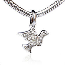 925 Silver Peace dove Clear CZ Dangle Charm Bead Fit European Bracelet Necklace