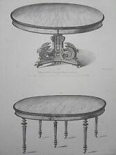 Table salle NOYER ACAJOU GRAVURE le MAGASIN de MEUBLES Victor QUETIN XIXéme
