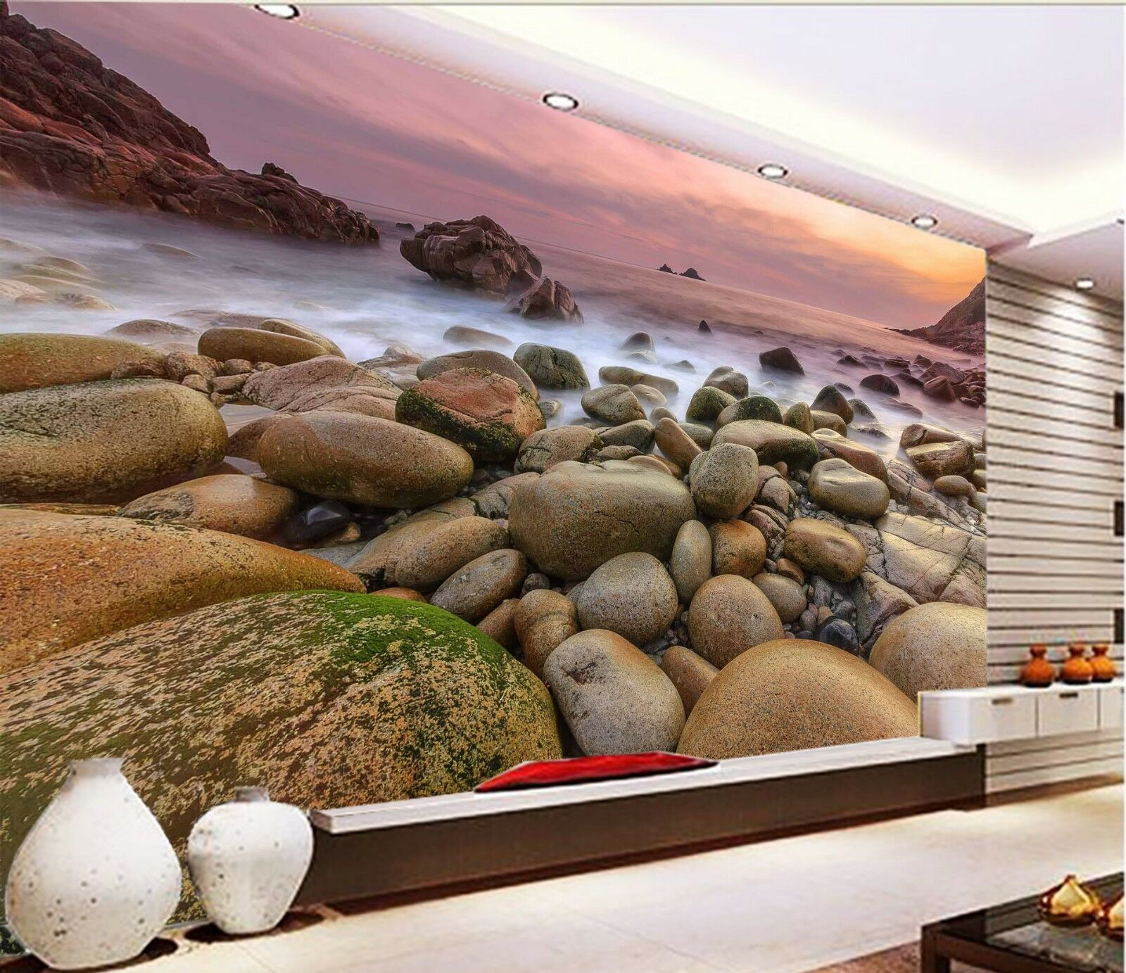 3D Lake Stone 7131 Wallpaper Mural Wall Print Wall Wallpaper Murals US Lemon