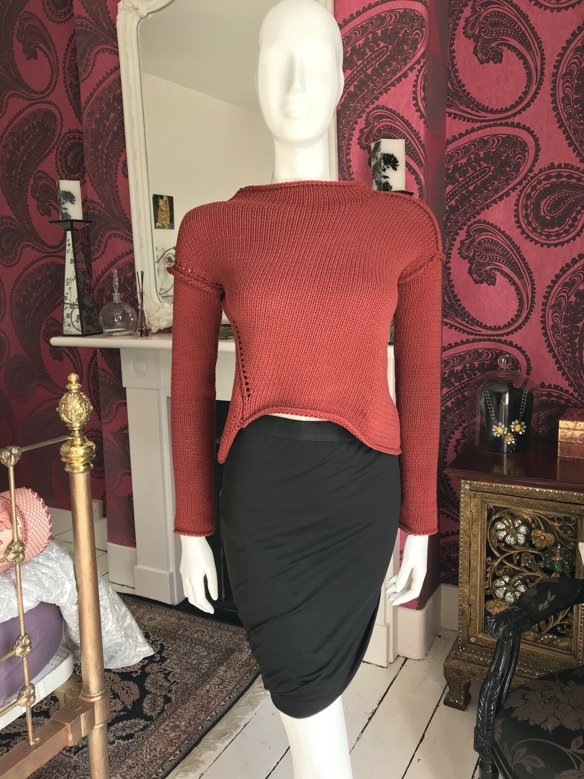 ZARA  rot Burnt Orange Asymmetrical Cropped Knit Sweater Größe Klein
