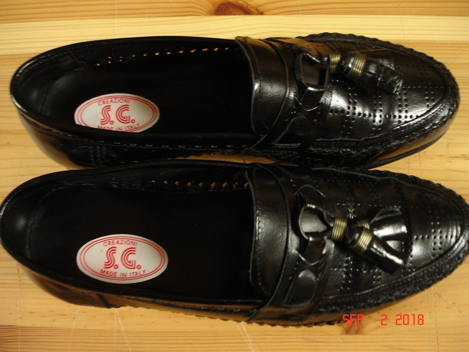 Creazioni Men's 7 - 7.5  Black Leather  in Casual Loafers Shoes Made in  ITALY 5e183c
