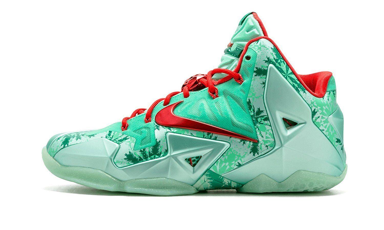 Gli uomini sono nike lebron xi scarpe da basket - dimensioni (616175-301) un bagliore verde / rosso