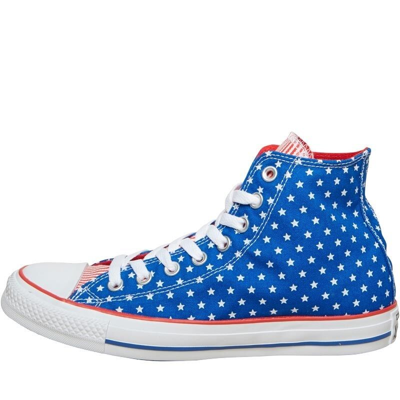 CONVERSE CT ALL STAR HI POLKA DOT TRAINERS Blau/WEISS/ROT – SIZE 4 – BNIB