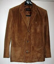 BROOKS BROTHERS MEN'S CAMEL BROWN SUEDE LEATHER CAR COAT BLAZER JACKET SIZE S