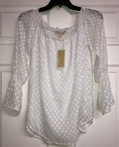 404afee304d0a8 NWT Michael Kors Off Shoulder Top Blouse White Bell Sleeve Size ...