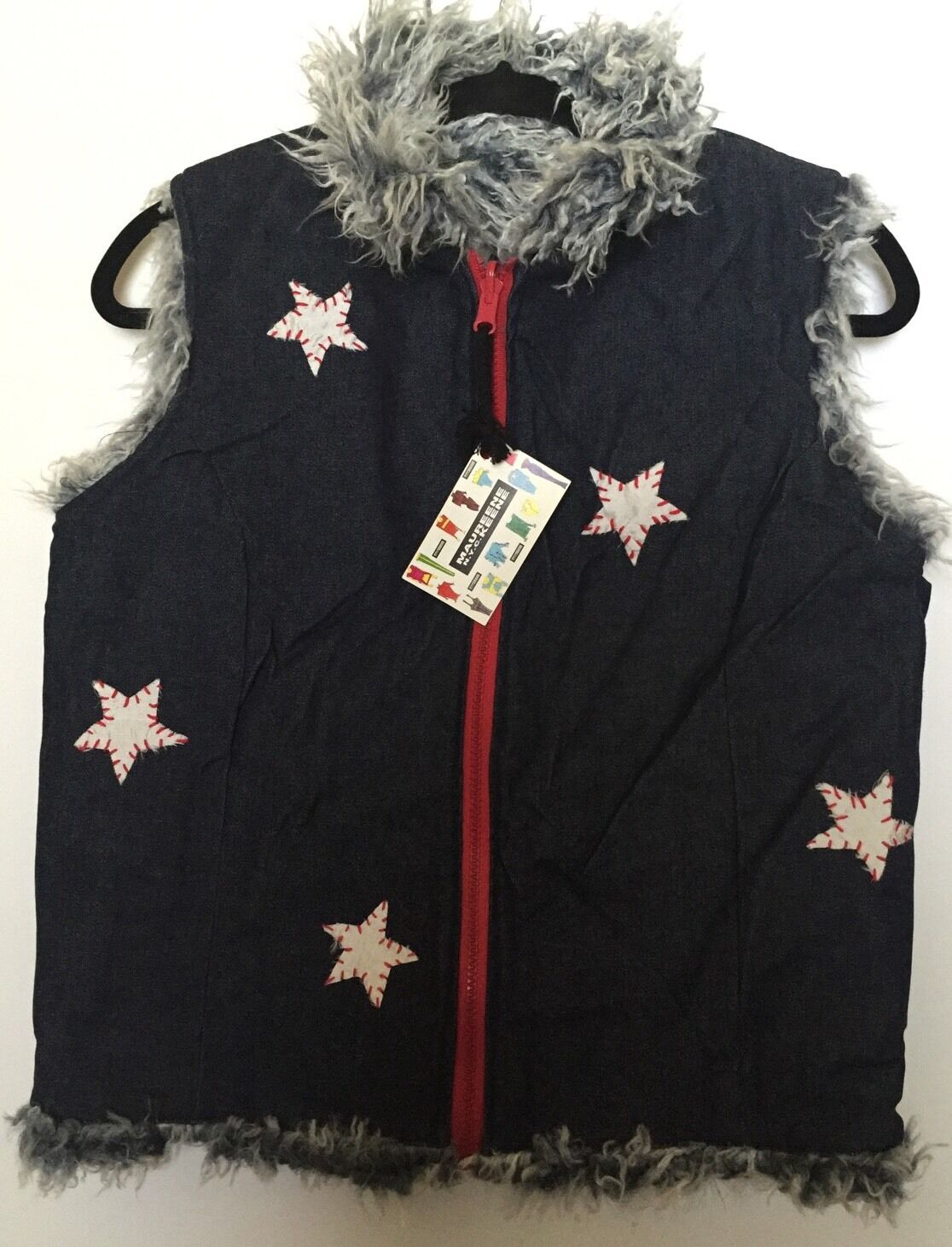 NEW Maureene Keene NYC Reversible Vest Vest Vest July 4 HTF Silk ShagFur NWT S Small Stars c7f8ba