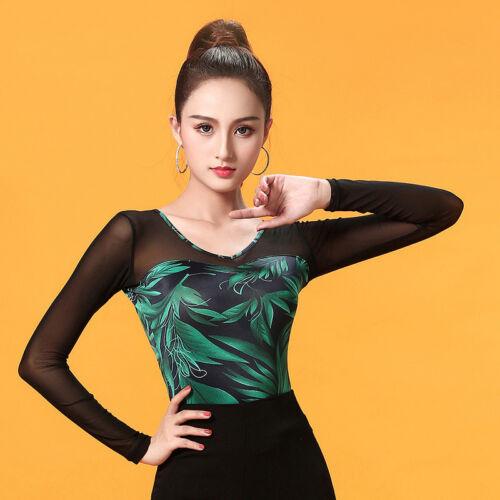 NEW Women Top for Latin salsa cha cha tango Ballroom Dance#W605 Green