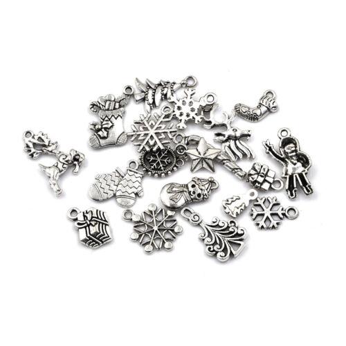 19pcs Tibetan Christmas Tree Snowflake Charm Pendant Diy Necklace Bracelet H Jx