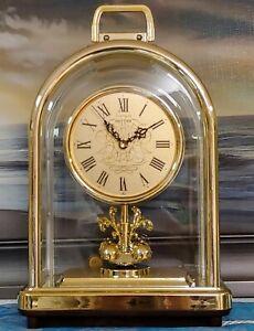 Vintage-Rhythm-desk-clock-quartz-with-rotating-pendulum-Made-in-Japan
