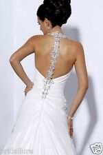 MAGGIE SOTERRO MIDGELY 12 DIAMOND WHITE TAFFETA JEWEL NECK & BACK WEDDING DRESS