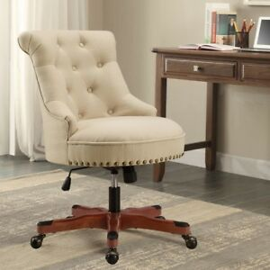 Executive Office Chair Upholstered Armless Wood Base ...