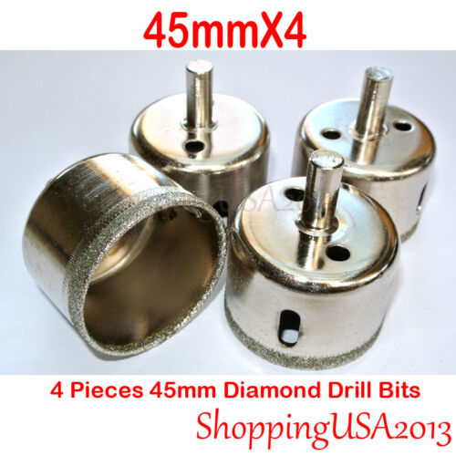 4 Pcs 45mm Diamond Drill Bits Set Hole Saw Cutter Tool Glass Marble Ceramic